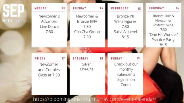 Upcoming this week at Arthur Murray Bloomington. Looking forward to seeing you on the dance floor! Walk in, dance out. . . . Contact us today to schedule your first dance lesson! call 812-334-0553 or message us here. www.bloomingtonarthurmurray.com Follow/like or tag us as @bloomingtondance  #bloomingtondance #Dance #lesson #dancelessons #learntodance #couplesdancing #singlesdancing #BallroomDance #ballroomdancelessons #DanceFamily #dancewithus #latindance #latindancemusic #bloomingtonindiana #bloomingtonballroom